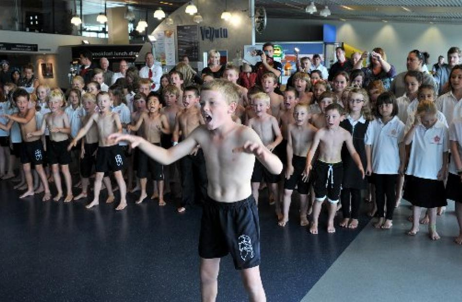 Will Bathgate (11) leads the Fairfield School Kapa Haka Group. Photo by Linda Robertson