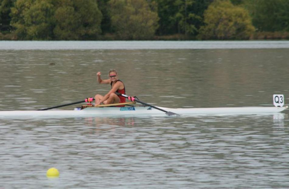 Lucy Strack (North End) after winning the women's open light weight single sculls.