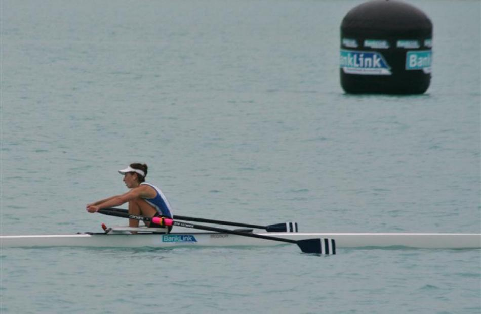 Zoe McBride (Otago) wins the women's under-20 single sculls at Lake Ruataniwha.