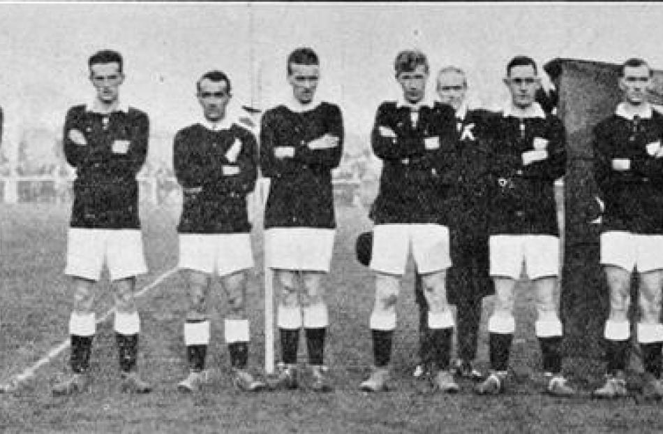 The New Zealand team  before  the game against Canada at Carisbrook in 1927.
