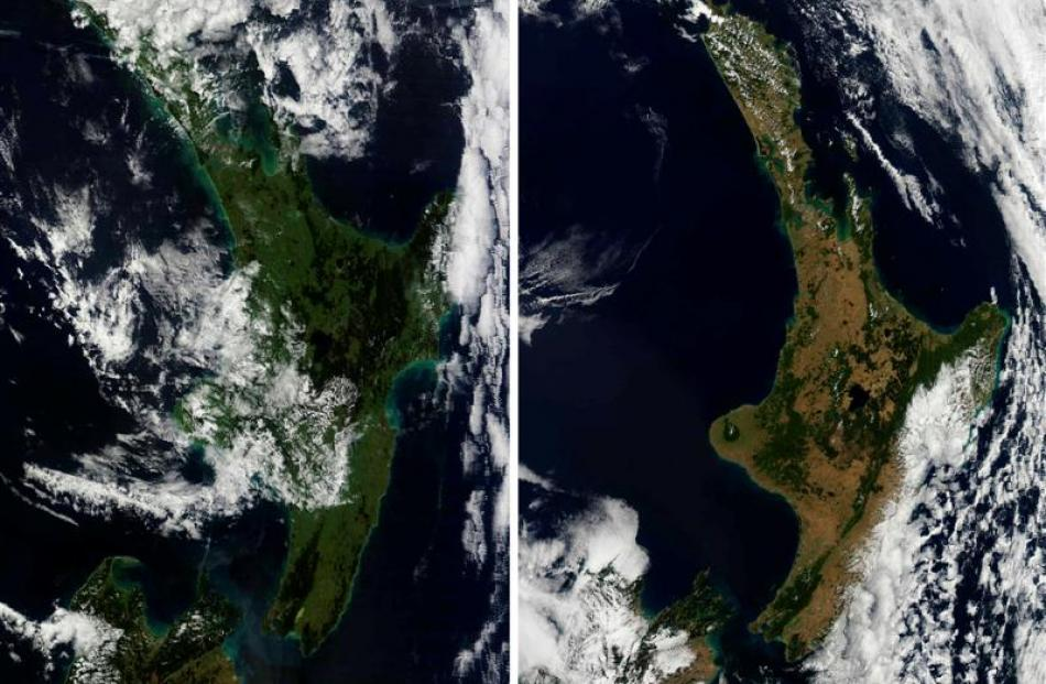 Dramatic satellite images of the North Island (above)  taken a year apart - yesterday and March...