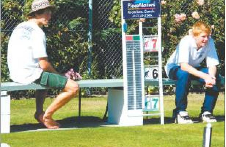 Supporters: Mt Aspiring College bowler Nick Jolly (left, 16) and David Weyer (13), of Maniototo...