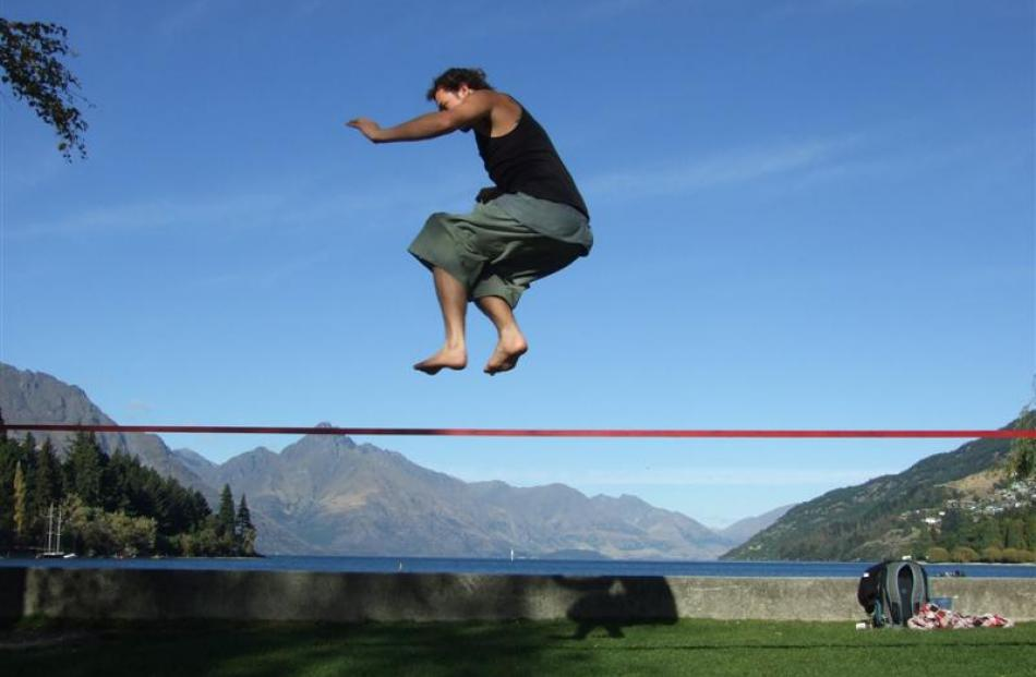 George Halson, of Queenstown, shows slacklining is more than just a balancing act.