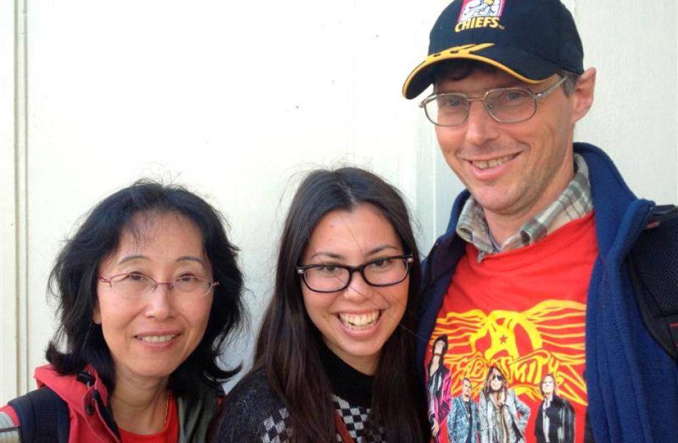 Aerosmith fans (from left) Yoko (47) Chiharu (17) and Carl Saunders (47), of Hamilton.