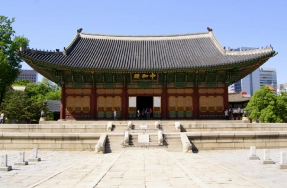 Junghwajeon, the main throne hall of Deoksugung. Built  in 1902, burned down in 1904 and rebuilt...