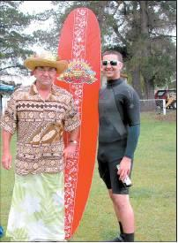 Surf's up: Tropical attire was the order of the day for John Pearce (left) and Forest Taplin,...