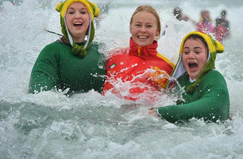 Otago Girls' High School pupils (from left) Briana Campbell (17), Elle Rolfe (16) and Jazmin...