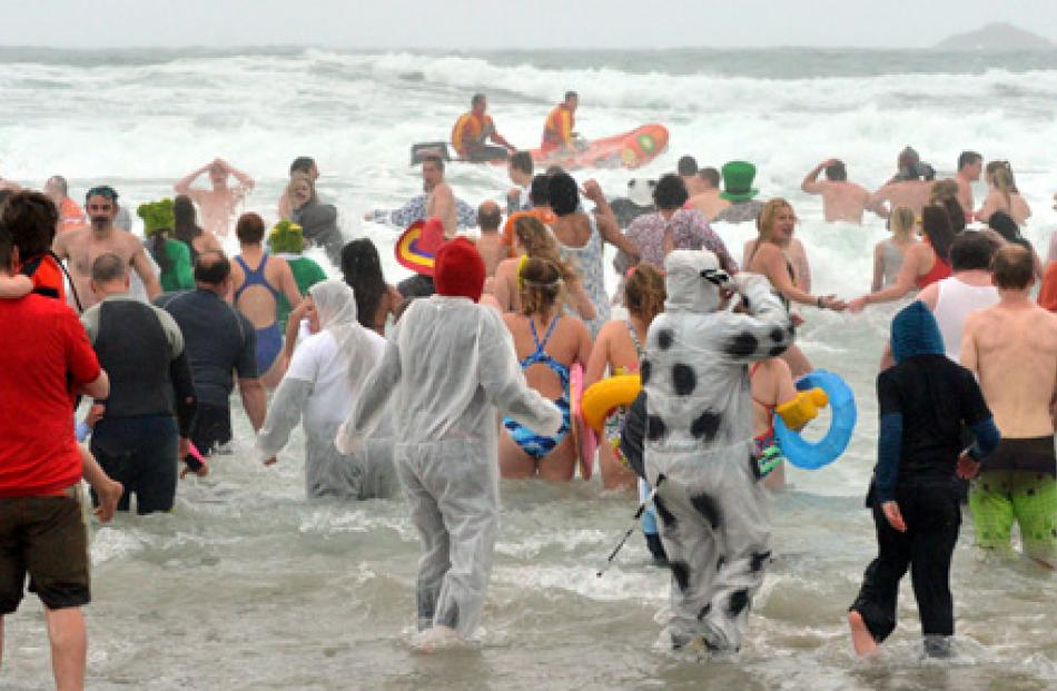 Polar Plunge swimmers submerge at Middle Beach in Dunedin yesterday.
