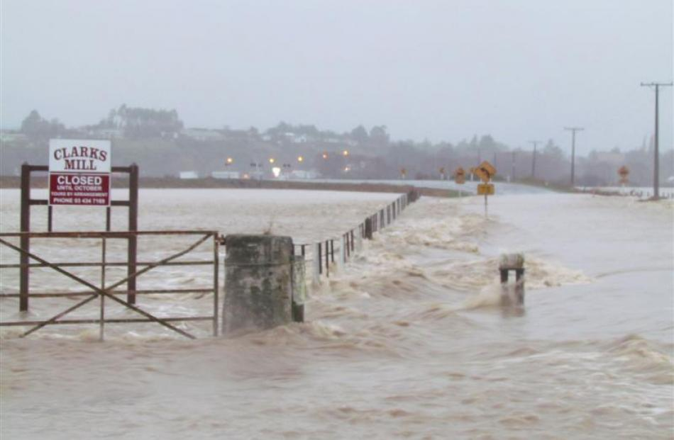 Flood waters... State Highway 1, near Maheno is closed due to flooding this morning. Photo by...