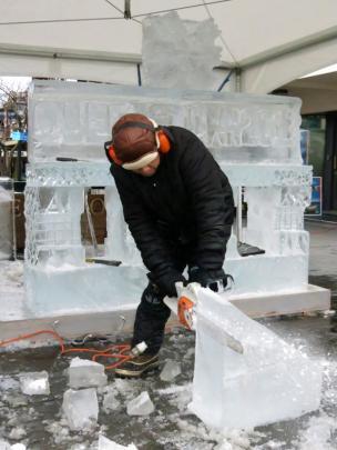 Ice sculpting in Queenstown.