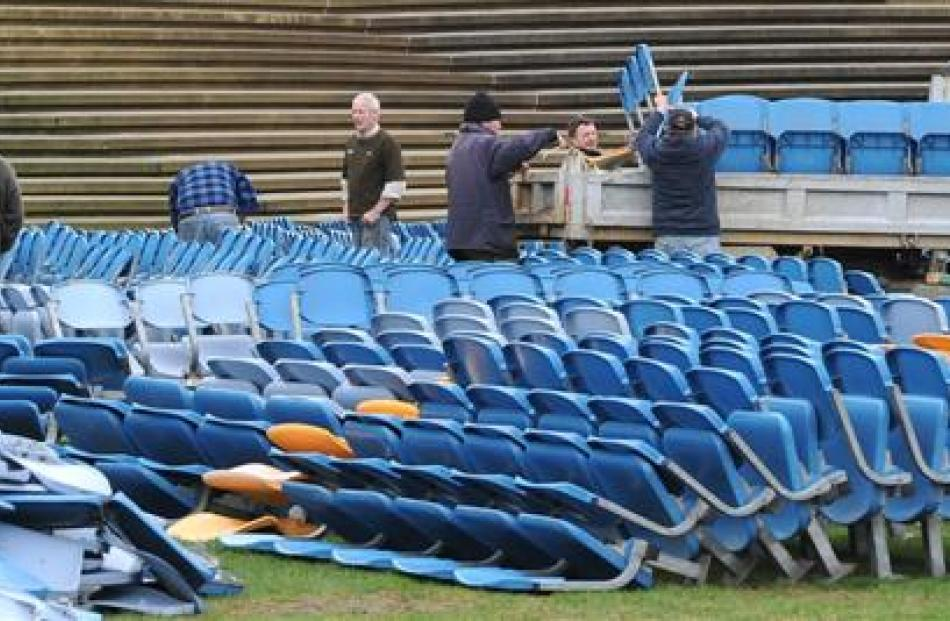 A truck  is loaded with seats. Photos by Craig Baxter.