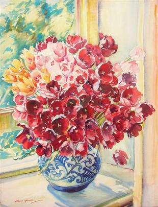 Kathleen Salmond, Tulips for Market, watercolour. Images from Dunedin Public Art Gallery collection.