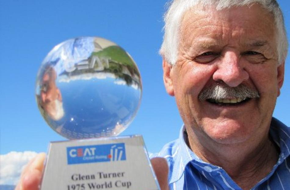 New Zealand cricket great Glenn Turner with a trophy  belatedly awarded for being the outstanding...