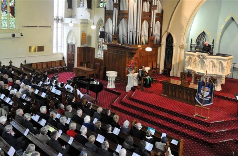 Former Otago Boys' High School pupil Sir Lloyd Geering delivers a sermon at the school's 150th...