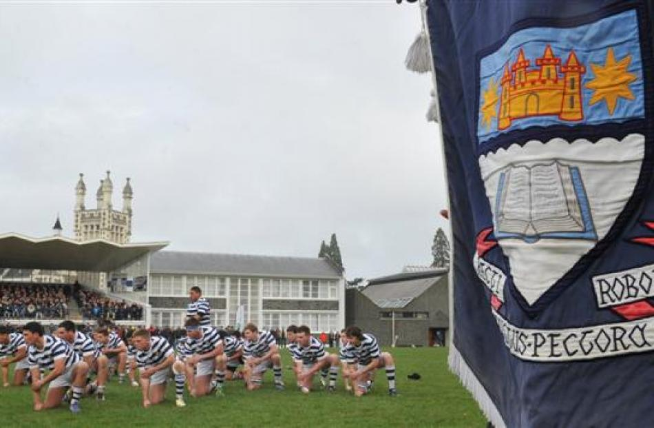The haka being performed during the OBHS v Christ's College rugby game. Photo by Craig Baxter.