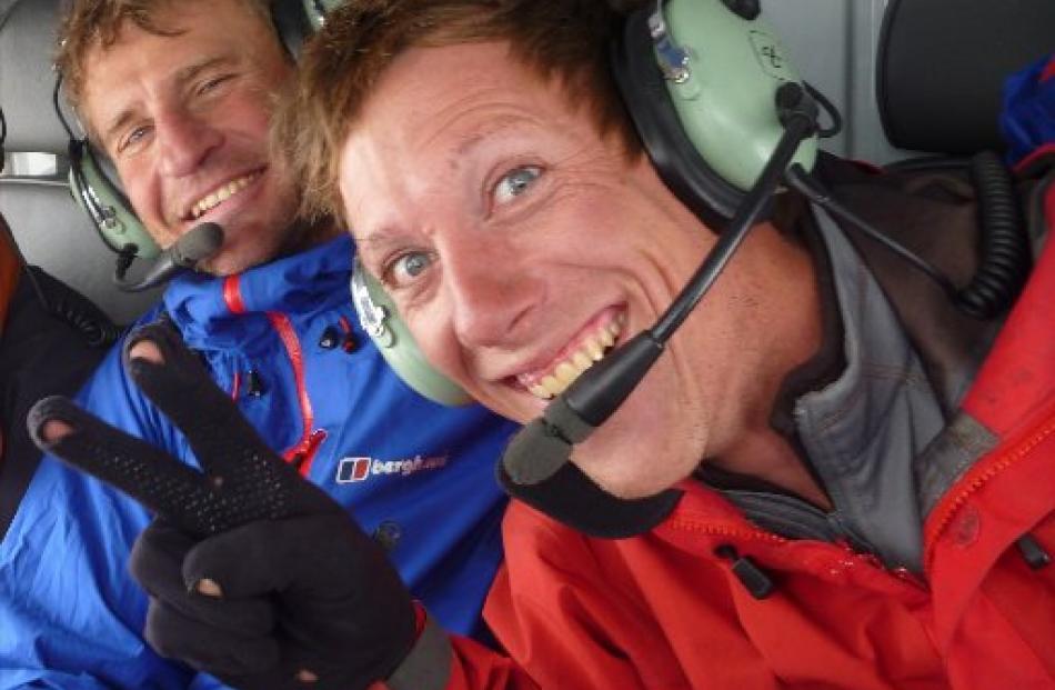 Paul Hersey (left) and Jamie Vinton-Boot return  from climbing in Aoraki Mount Cook National Park...