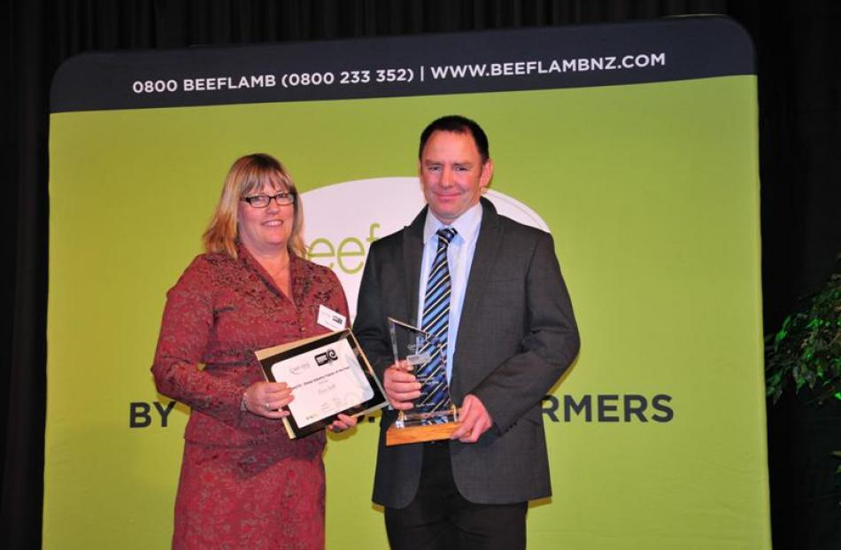 AgITO sheep industry trainer of the year Kevin Smith, from Middlemarch, with Claire Chapman, from...
