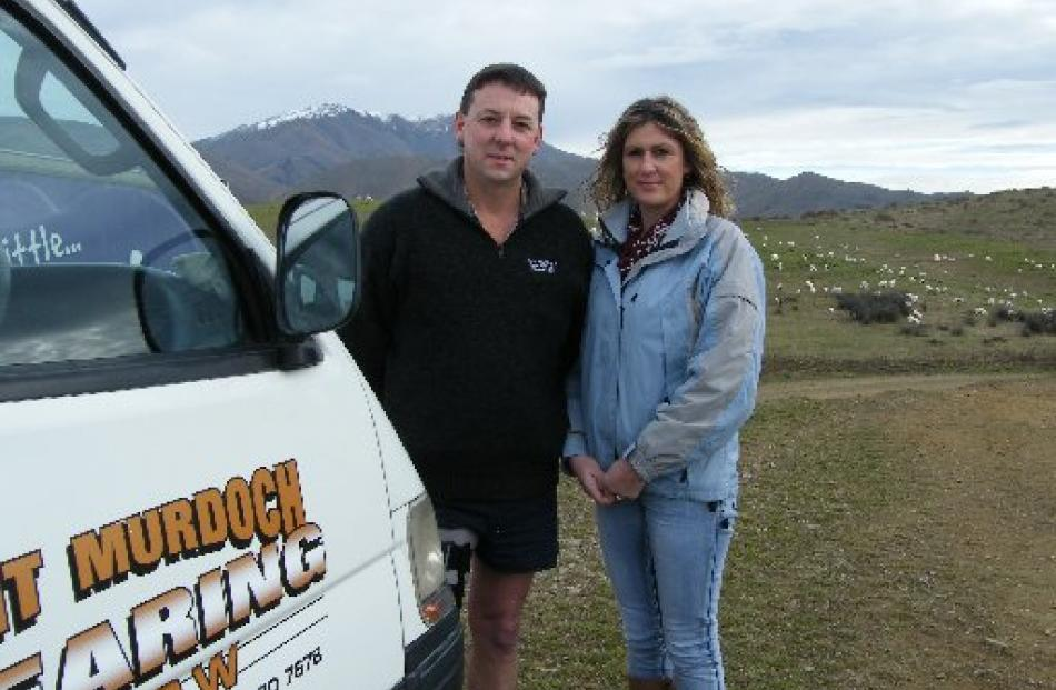 Kurow-based shearing contractors Grant and Sharlene Murdoch and their gangs spend about three...