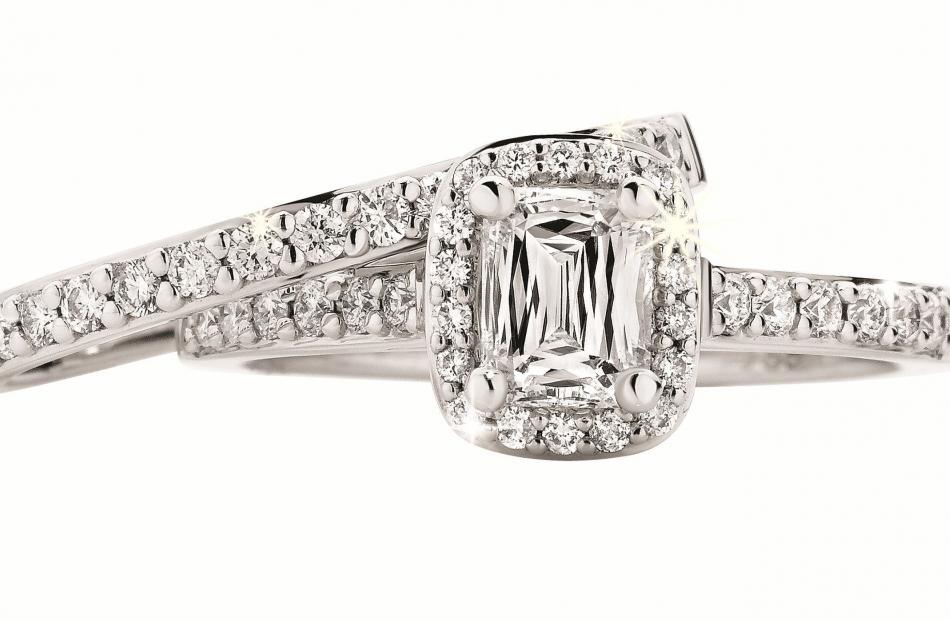 Bridal set in 18ct white gold and ``crisscut'' diamonds at Daniels Showcase Jewellers.