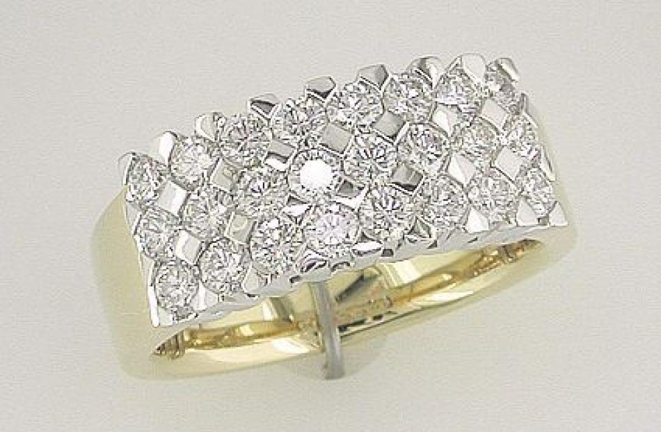 Wide flush set diamond band ring from Brent Weatherall Jeweller