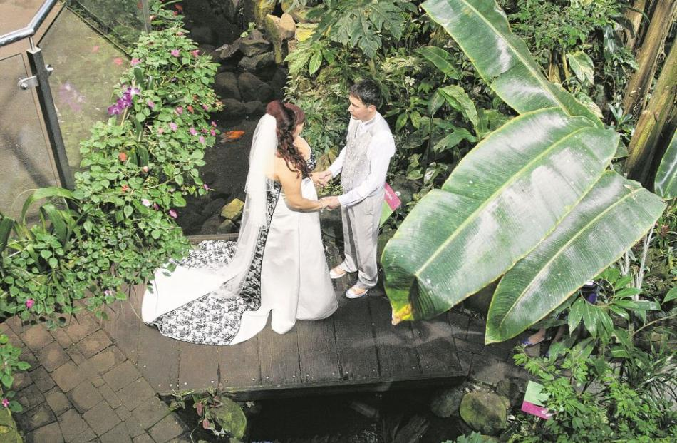 Rae Franklin and Aaron Palenski chose Otago Museum's Tropical Forest for their wedding ceremony,...