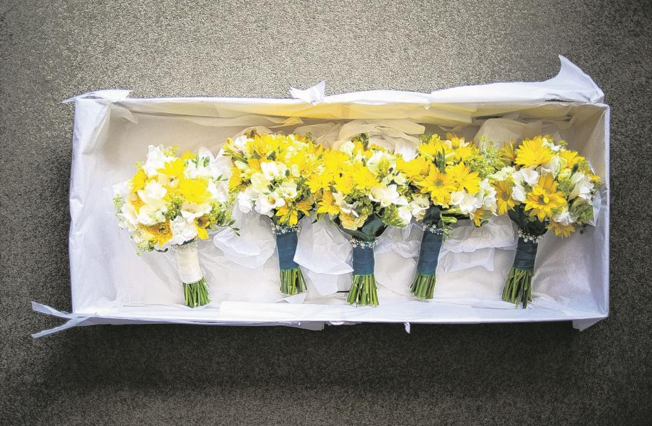 Ready to go . . . the flowers at Stacey and Richard Goodson's wedding in Invercargill last...