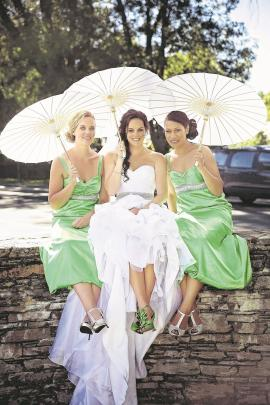 Bride Kylie with bridesmaids Rachel Devery and Tupou Salesa on her January wedding day