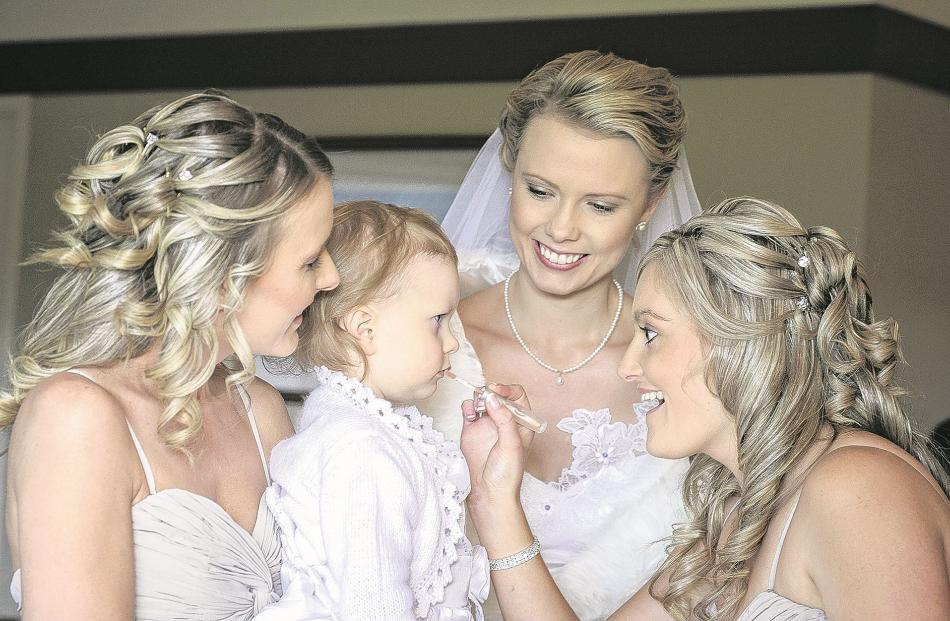 Jess Hammersley with her attendants before her marriage to Adam in Wanaka in May.