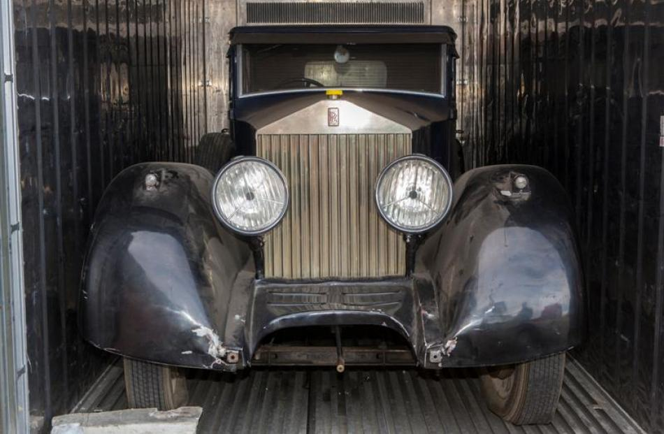 The Rolls-Royce as it was found inside a container in Dunedin earlier this month.