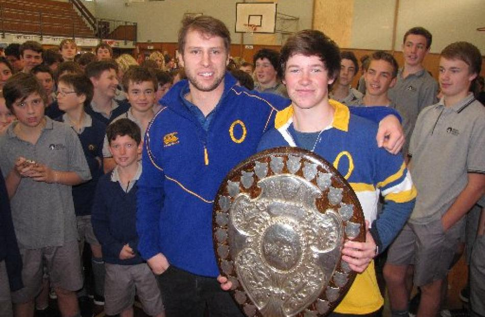Mount Aspiring College pupil and Otago rugby fanatic Josh Roberts (right), with Otago player...