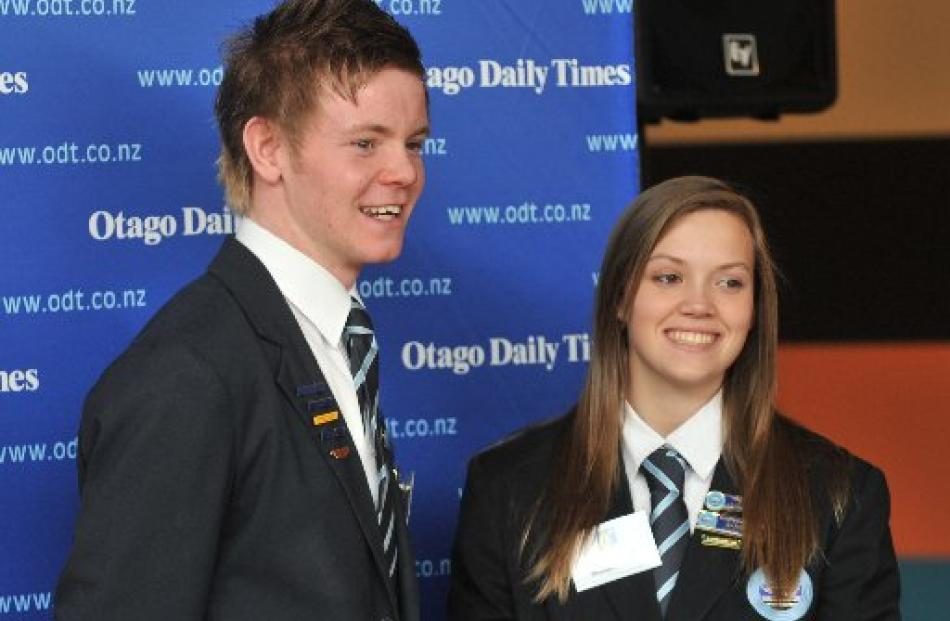 Maniototo Area School pupils Lachlan Edwards and Andrea Voyce at the Class Act awards ceremony ...