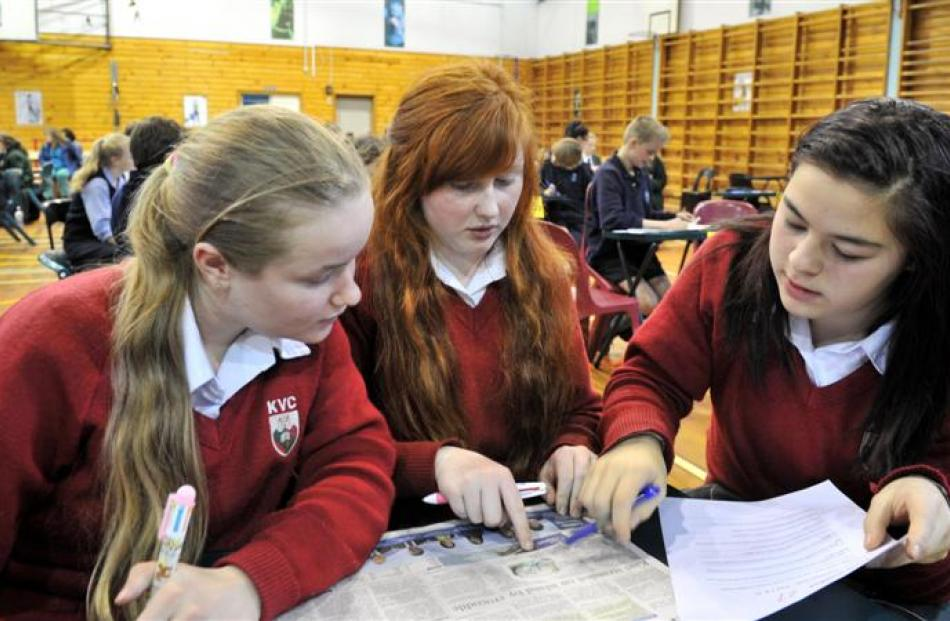 On the case  ...  Kaikorai Valley College pupils (from left) Brooke Thompson (15), Nadia Paine ...