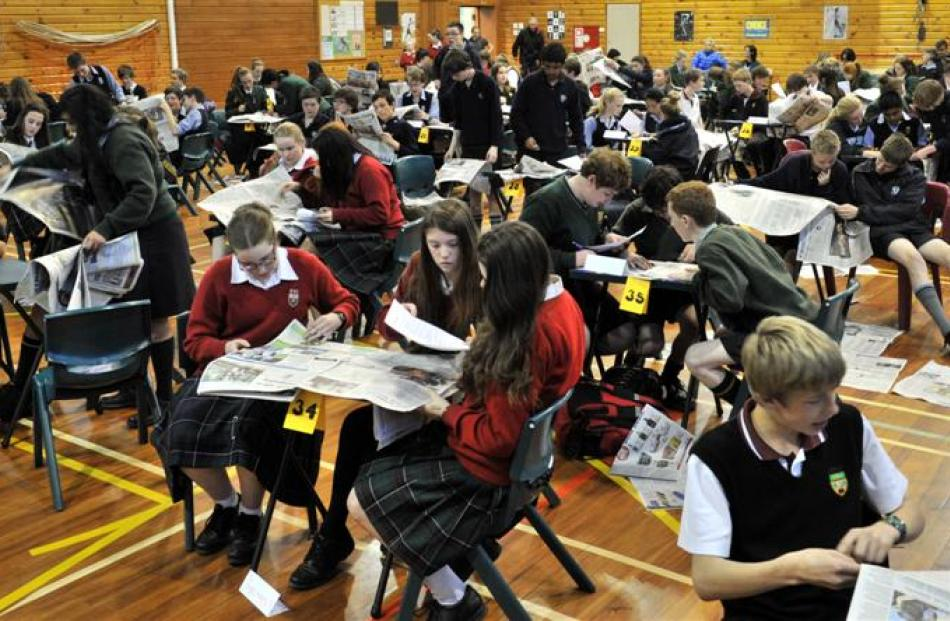 Question time  ...   Years 9 and 10 pupils compete in the Otago Daily Times Extra! Otago regional...