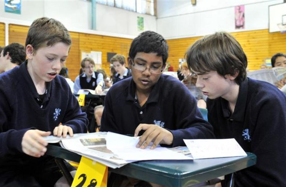Teamwork  ...  King's High School pupils (from left) Sam Bone (13), Mueed Hasan (13) and Elijah...