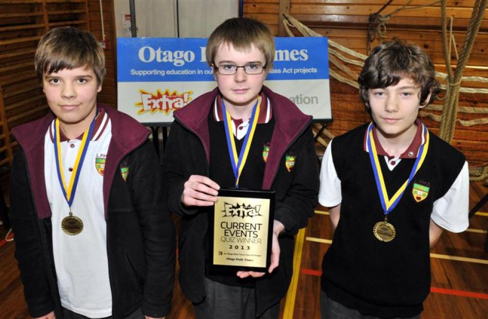 Victorious  ...  Logan Park High School pupils (from left) Max Riddle (14), Ben Clayton (14) and...