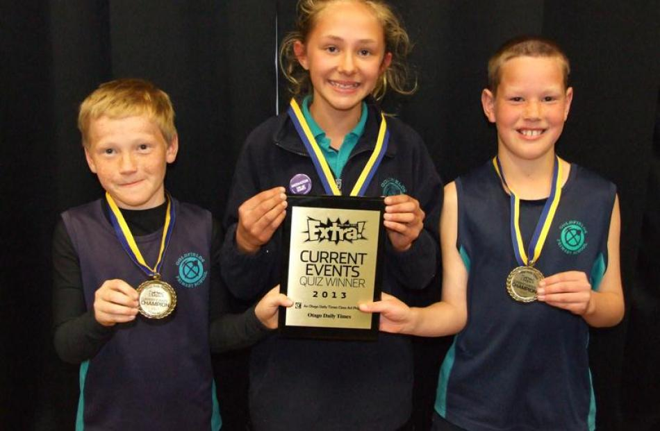 Goldfields School pupils (from left)  Logan Pagan (11), Jaide Dixon (11) and Hunter Norton (10)...