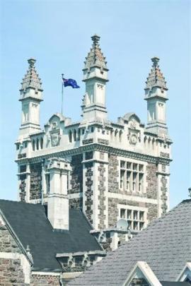 The tower of R.A. Lawson's impressive Tudor-style Otago Boys High School building, on its...