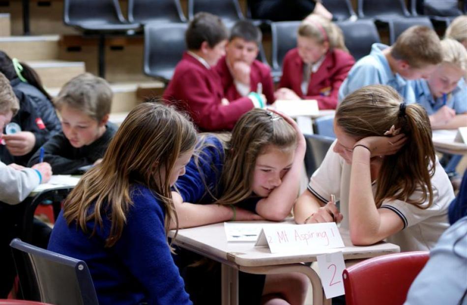 Emma Stalker (left, 13), Laura Smith (14) and Jessica  Martin (14), of Mt Aspiring College, get...