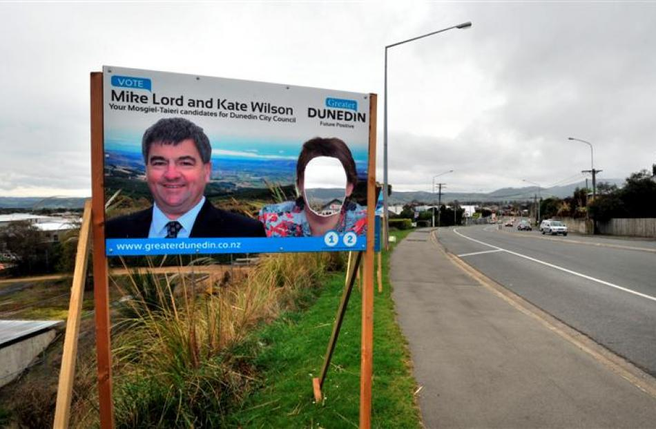 Cr Kate Wilson has become the victim of election sign vandalism in Dunedin. Photo by Gregor...