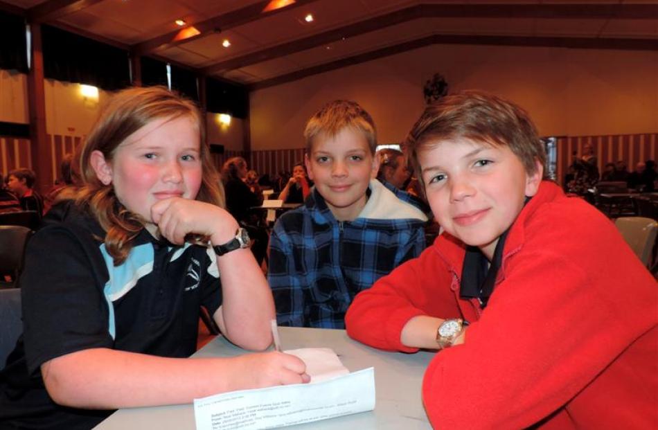 Mt Somers Springburn School's team 3  (from left) Sophie Adkins (9), Ben Schikker  (11) and Angus...