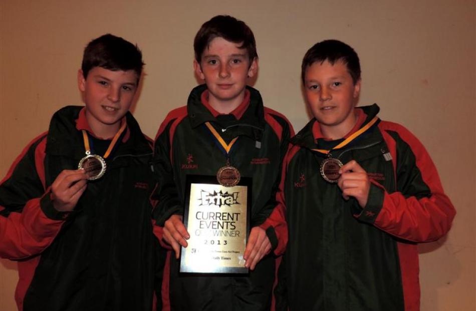 Years 7 and 8 winners are Ashburton Intermediate's team 3 (from left) Matthew Johnson  (12),...