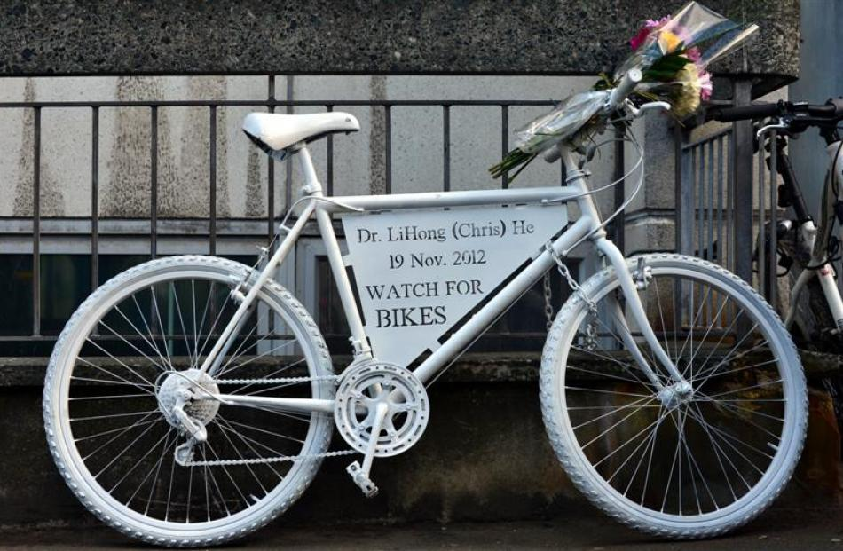 A white bicycle memorial to Dr He that was installed outside Dunedin Hospital yesterday.