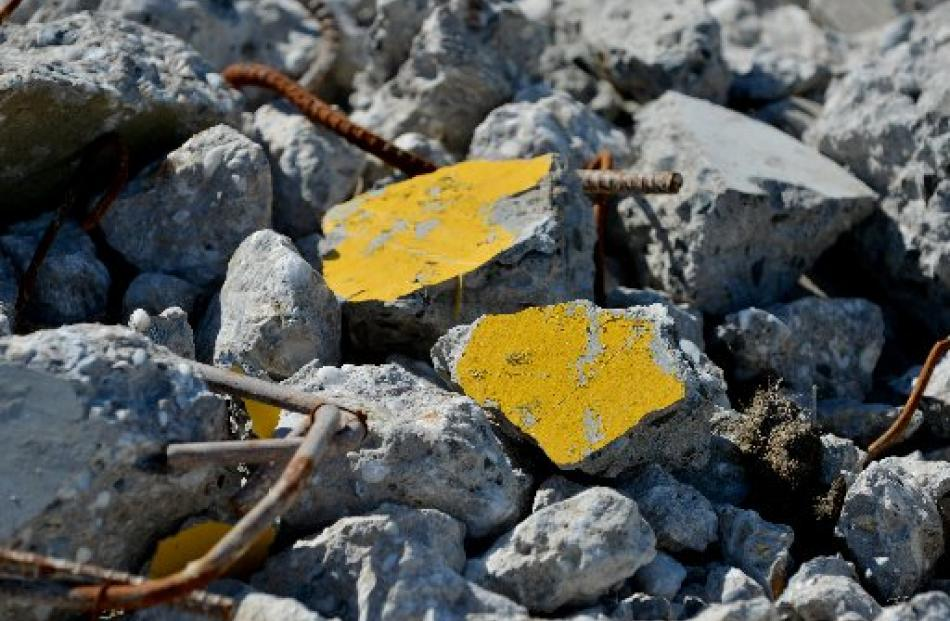 Nuggets of Otago gold in the terrace rubble.