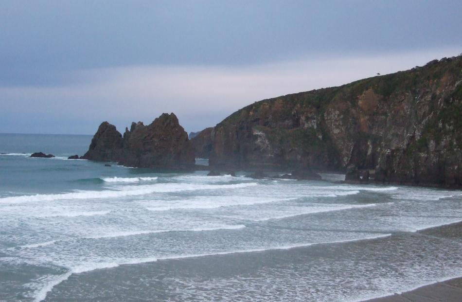 The Frances Pillars and Lathyrus Bay, also known as Sweet Pea Beach.