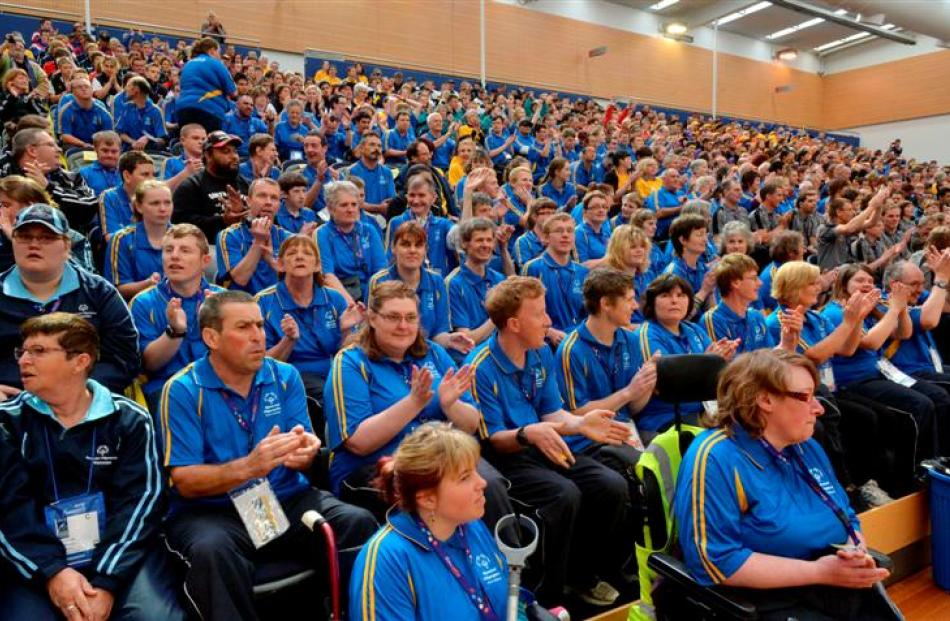 Enjoying the opening ceremony at the More FM arena is the Otago team.