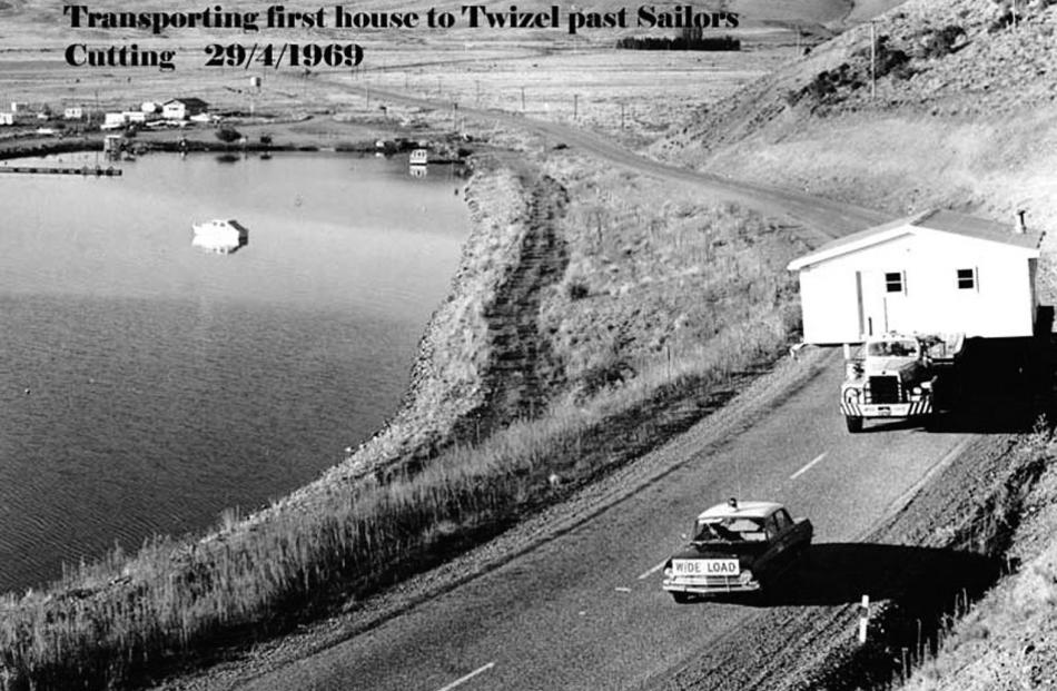 Transporting the first house to Twizel through Sailors Cutting in 1969. Supplied photo