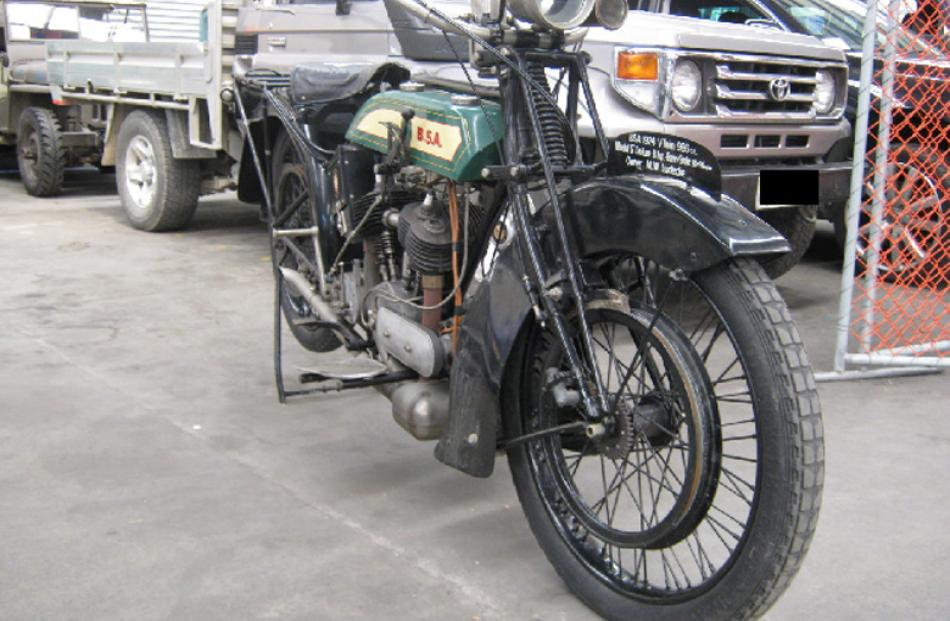 1924 BSA motorbike, bought for $17,995, sold for $13,000.