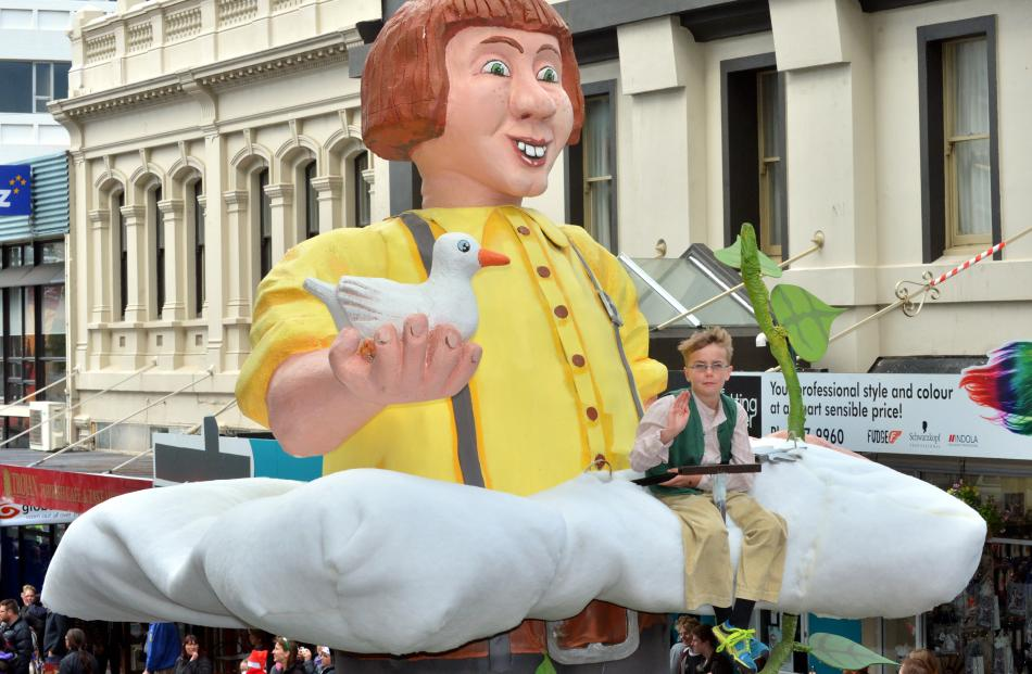 Jack Henderson (8), of Mosgiel, on the Jack and the Beanstalk float.