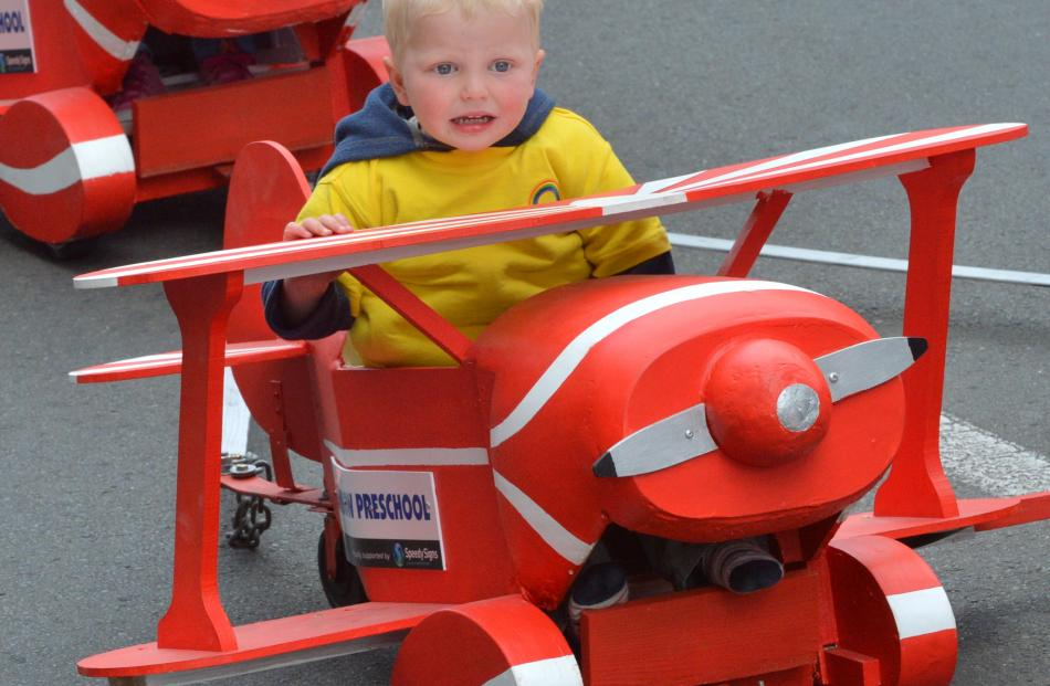 Liam Bishop (3), of Dunedin, pilots a wee plane.