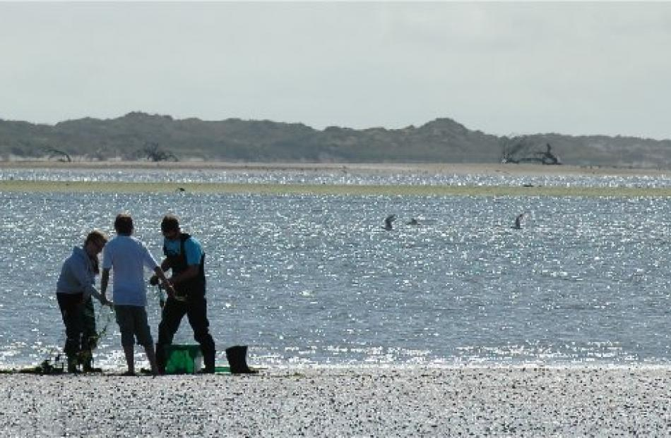 Teens tend to a fishing net at Fortrose, where the Mataura River meets the sea.
